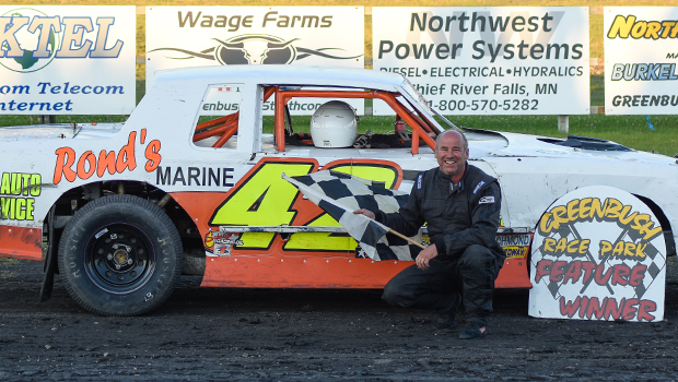 Darryl Heintz picked up the win in the Pure Stocks at Greenbush Race Park (photo courtesy of Heather Morey)