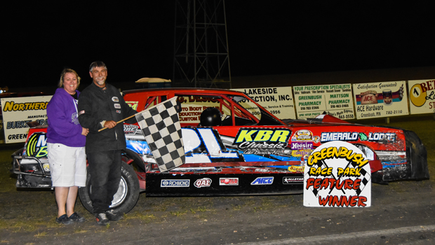 Greenbush Race Park Street feature winner - Brad Wall Memorial winner, Art Linert (photo courtesy of Heather Morey)