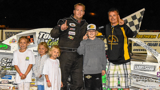Modified feature winner Gavin Paull at Greenbush Race Park (photo courtesy of Heather Morey)